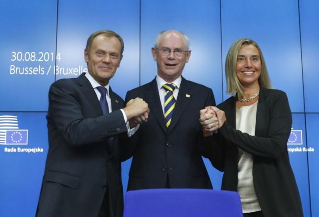 Donald Tusk, Herman Van Rompuy és Federica Mogherini (Forrás: nol.hu)