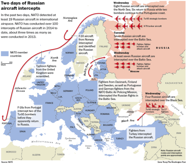 Az orosz repülőgépek által bejárt útvonalak október 28-29-én. Kattintással nagyítható! (Forrás: apps.washingtonpost.com)