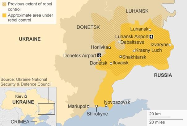 Az ukrán szeparatisták által ellenőrzött területek (Forrás: bbc.com)