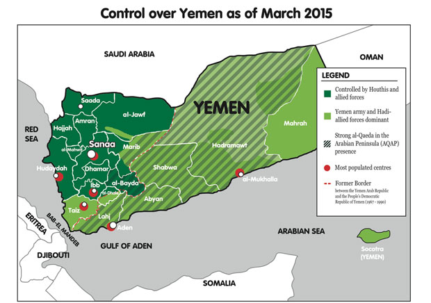 A különböző csoportok Jemen egyes területei feletti ellenőrzésének megoszlása.  (Forrás:  http://scd.france24.com/en/files/element_multimedia/image/Yemen-Map.jpg)