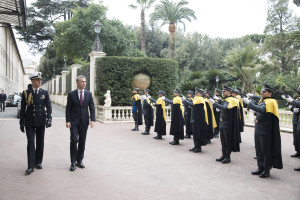 Military ceremony upon the arrival of NATO Secretary General Jens Stoltenberg