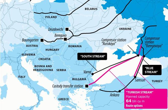 A tervezett Török Áramlat, valamint egyéb orosz gázvezetékek útvonalai.   (forrás: Bosnia Today, http://www.bosniatoday.ba/wp-content/uploads/2015/04/turkish-stream.jpg)