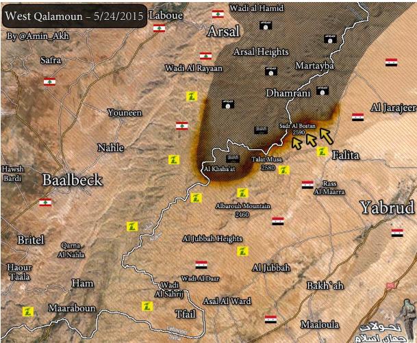 A Qalamoun fennsík nyugati részén húzódó frontvonalak 2015 májusában. (Forrás: http://www.almasdarnews.com/)
