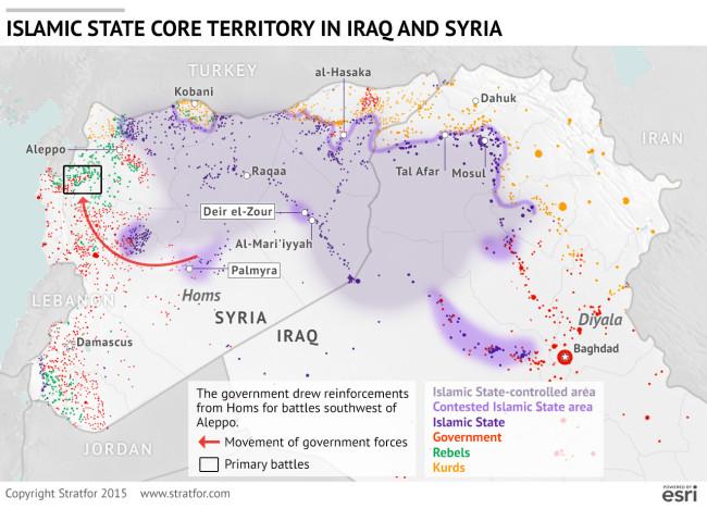 Az Iszlám Állam által uralt iraki és szíriai területek.  (Forrás: https://www.stratfor.com/image/understanding-strategic-shift-syria)