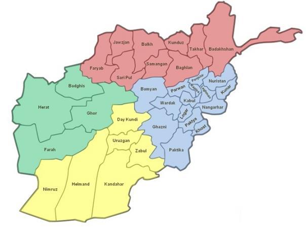 Afganisztán tartományai. (A kép forrása: armymomstrong.com)
