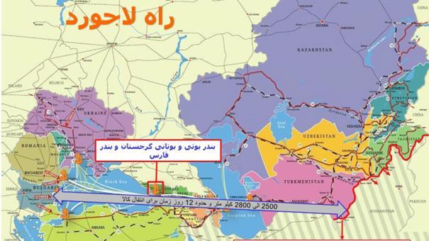 A térképen szürke nyíl jelöli a Lápisz Lazuli Folyosó tervezett nyomvonalát. (A kép forrása: orientalreview.org)