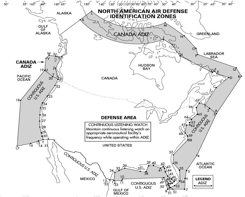 Észak-amerikai ADIZ. (A kép forrása: http://www.globalsecurity.org/military/ops/images/map-adiz-1.jpg)