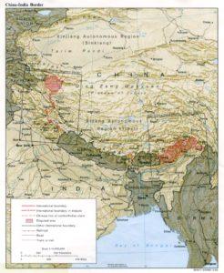 2. ábra: vitatott határrégiók Kína és India között a Himalájában. Forrás: University of Texas Libraries (http://www.lib.utexas.edu/)